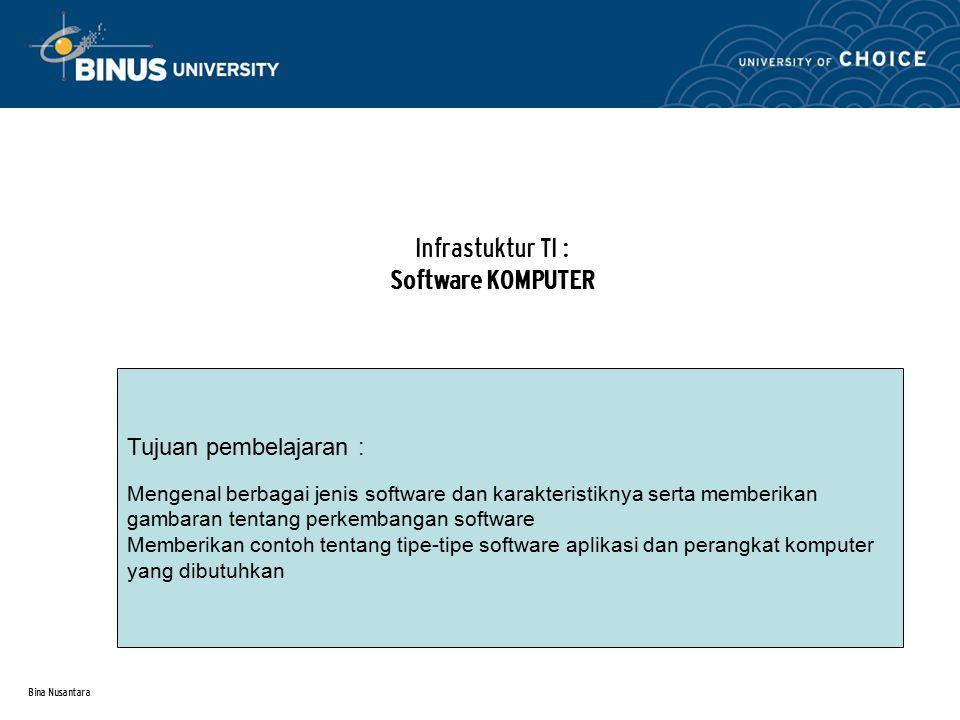 Bina Nusantara Infrastuktur TI : Software KOMPUTER Tujuan pembelajaran : Mengenal berbagai jenis software dan karakteristiknya serta memberikan gambaran tentang perkembangan software Memberikan contoh tentang tipe-tipe software aplikasi dan perangkat komputer yang dibutuhkan