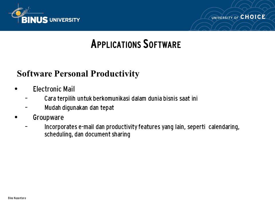 Bina Nusantara Electronic Mail – Cara terpilih untuk berkomunikasi dalam dunia bisnis saat ini – Mudah digunakan dan tepat Groupware – Incorporates e-