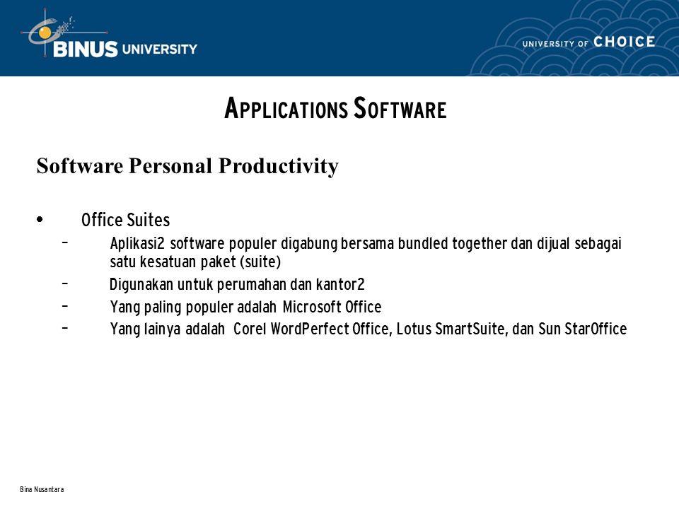 Bina Nusantara Office Suites – Aplikasi2 software populer digabung bersama bundled together dan dijual sebagai satu kesatuan paket (suite) – Digunakan