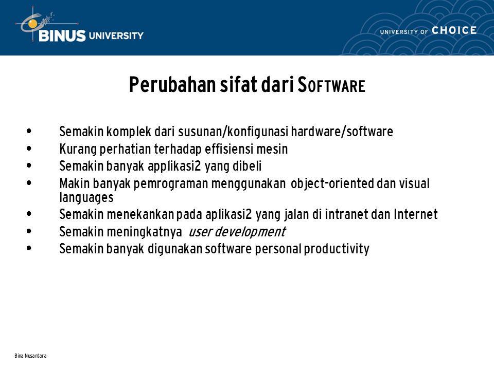 Bina Nusantara Semakin komplek dari susunan/konfigunasi hardware/software Kurang perhatian terhadap effisiensi mesin Semakin banyak applikasi2 yang di