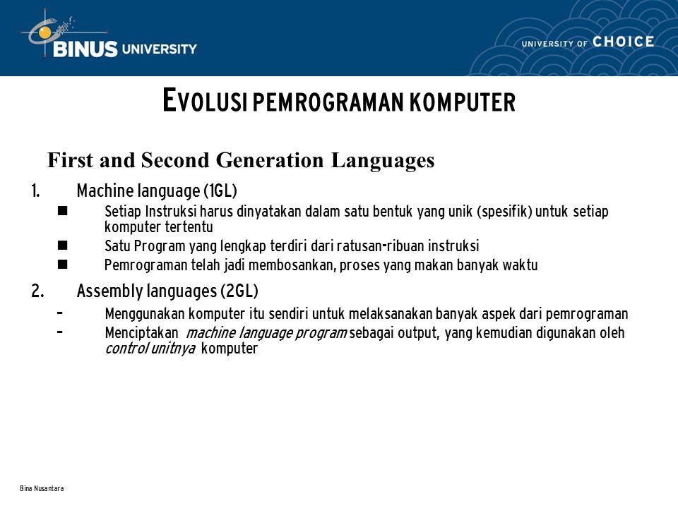 Bina Nusantara First dan Second Generation Languages E VOLUSI PEMROGRAMAN KOMPUTER SOURCE PROGRAM OBJECT PROGRAM (yang dapat dieksekusi langsung pada komputer)