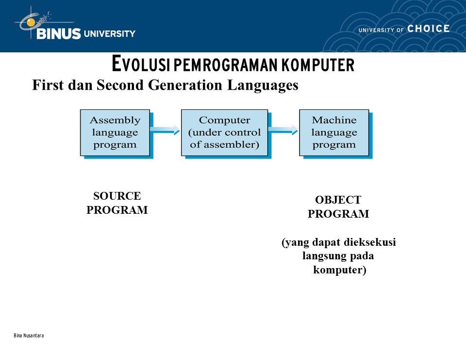 Bina Nusantara First dan Second Generation Languages E VOLUSI PEMROGRAMAN KOMPUTER SOURCE PROGRAM OBJECT PROGRAM (yang dapat dieksekusi langsung pada