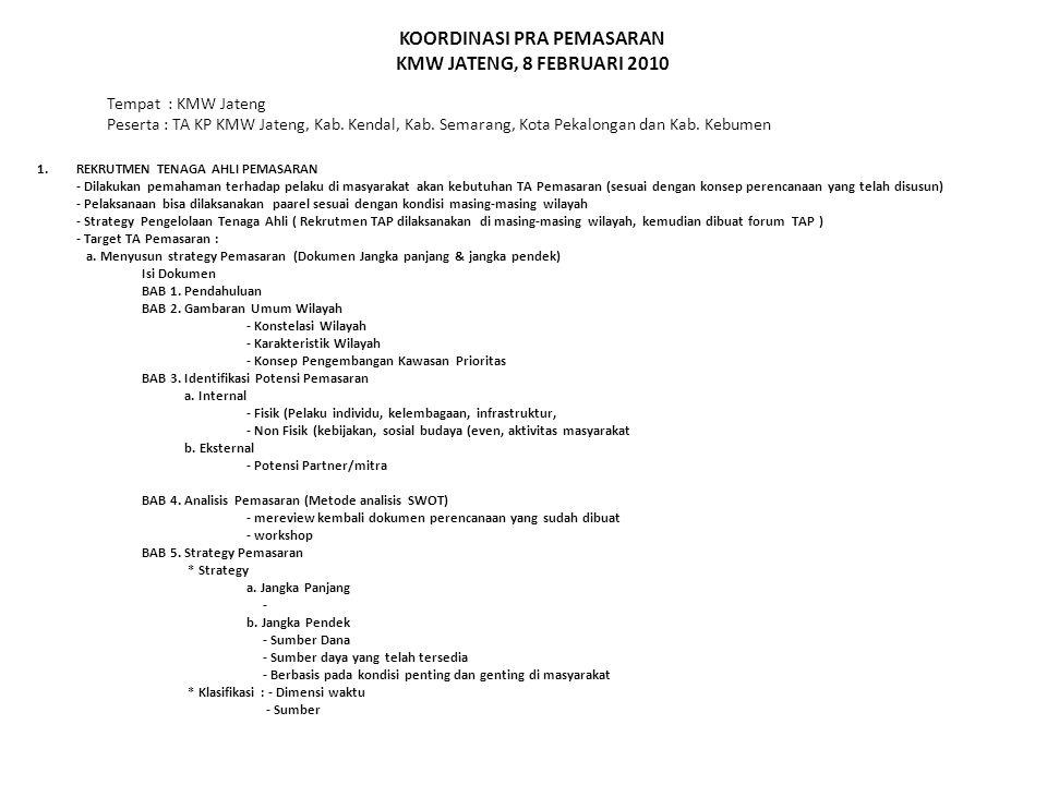 KOORDINASI PRA PEMASARAN KMW JATENG, 8 FEBRUARI 2010 1.REKRUTMEN TENAGA AHLI PEMASARAN - Dilakukan pemahaman terhadap pelaku di masyarakat akan kebutuhan TA Pemasaran (sesuai dengan konsep perencanaan yang telah disusun) - Pelaksanaan bisa dilaksanakan paarel sesuai dengan kondisi masing-masing wilayah - Strategy Pengelolaan Tenaga Ahli ( Rekrutmen TAP dilaksanakan di masing-masing wilayah, kemudian dibuat forum TAP ) - Target TA Pemasaran : a.