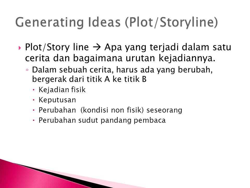 Plot/Story line  Apa yang terjadi dalam satu cerita dan bagaimana urutan kejadiannya.