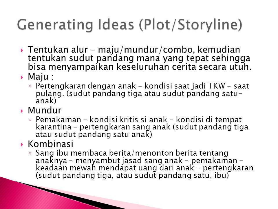  Tentukan alur – maju/mundur/combo, kemudian tentukan sudut pandang mana yang tepat sehingga bisa menyampaikan keseluruhan cerita secara utuh.