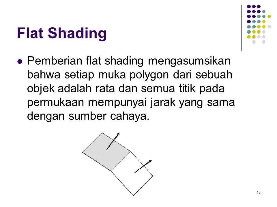 Flat Shading Pemberian flat shading mengasumsikan bahwa setiap muka polygon dari sebuah objek adalah rata dan semua titik pada permukaan mempunyai jarak yang sama dengan sumber cahaya.