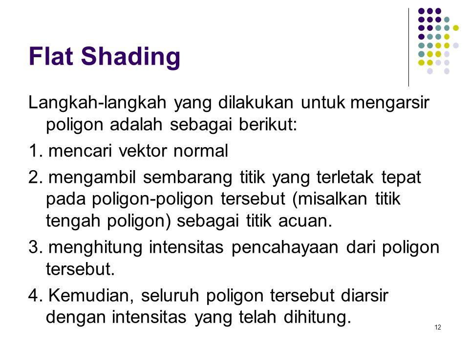 Flat Shading Langkah-langkah yang dilakukan untuk mengarsir poligon adalah sebagai berikut: 1. mencari vektor normal 2. mengambil sembarang titik yang