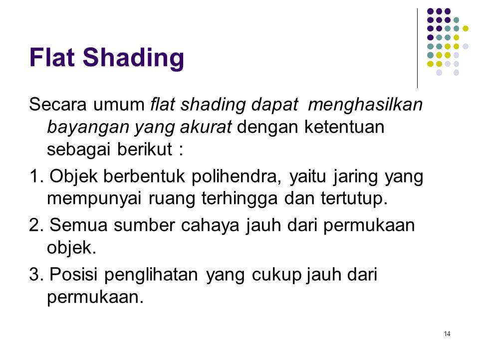 Flat Shading Secara umum flat shading dapat menghasilkan bayangan yang akurat dengan ketentuan sebagai berikut : 1. Objek berbentuk polihendra, yaitu