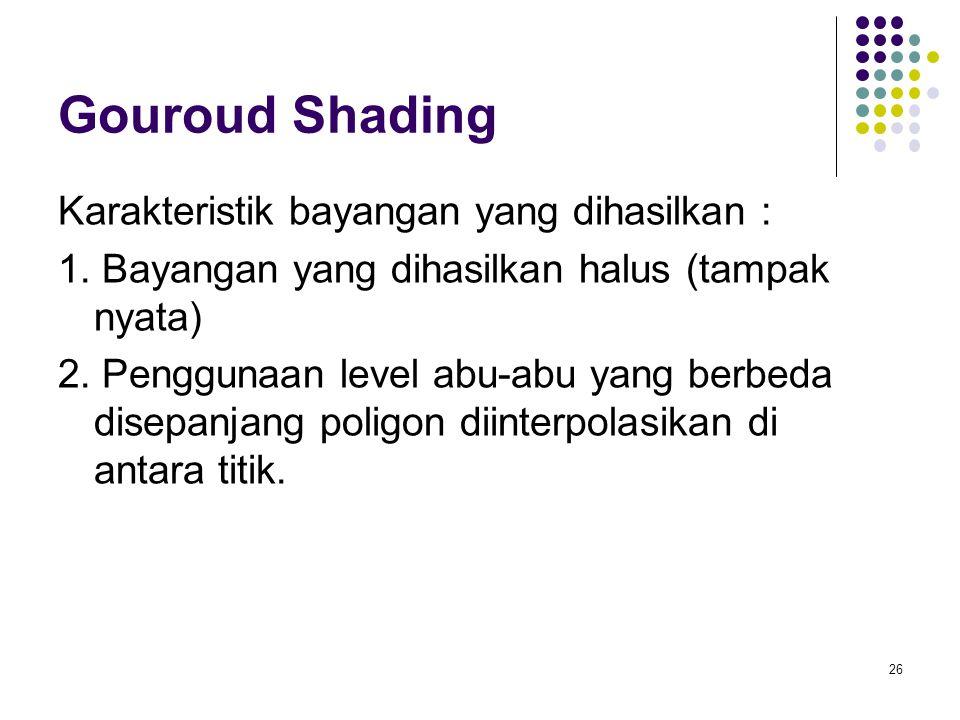 Gouroud Shading Karakteristik bayangan yang dihasilkan : 1. Bayangan yang dihasilkan halus (tampak nyata) 2. Penggunaan level abu-abu yang berbeda dis