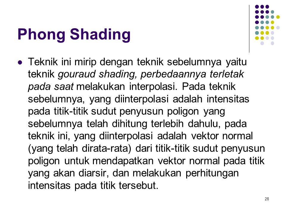 Phong Shading Teknik ini mirip dengan teknik sebelumnya yaitu teknik gouraud shading, perbedaannya terletak pada saat melakukan interpolasi. Pada tekn