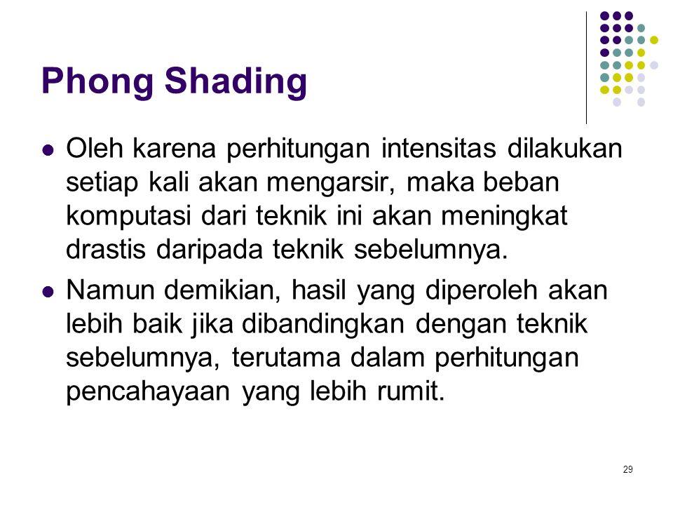 Phong Shading Oleh karena perhitungan intensitas dilakukan setiap kali akan mengarsir, maka beban komputasi dari teknik ini akan meningkat drastis daripada teknik sebelumnya.