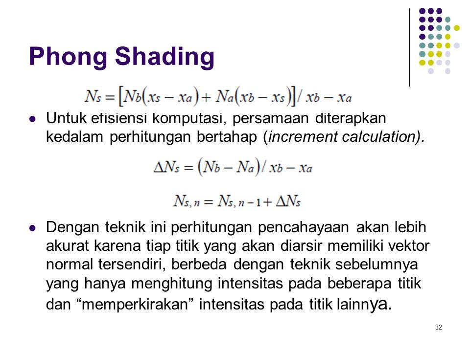 Phong Shading Untuk efisiensi komputasi, persamaan diterapkan kedalam perhitungan bertahap (increment calculation). Dengan teknik ini perhitungan penc
