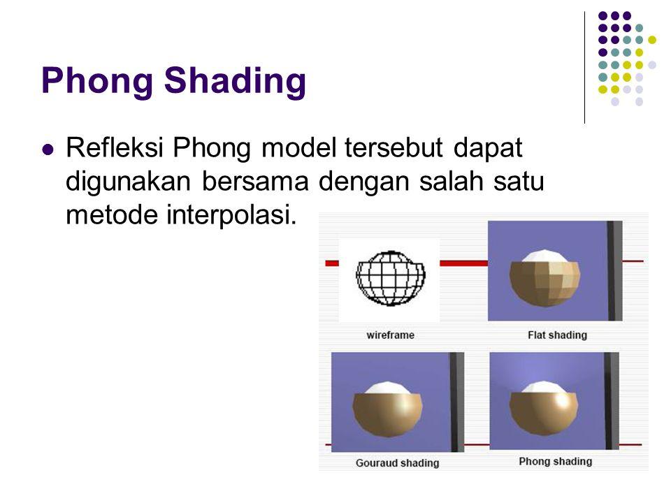 Phong Shading Refleksi Phong model tersebut dapat digunakan bersama dengan salah satu metode interpolasi.