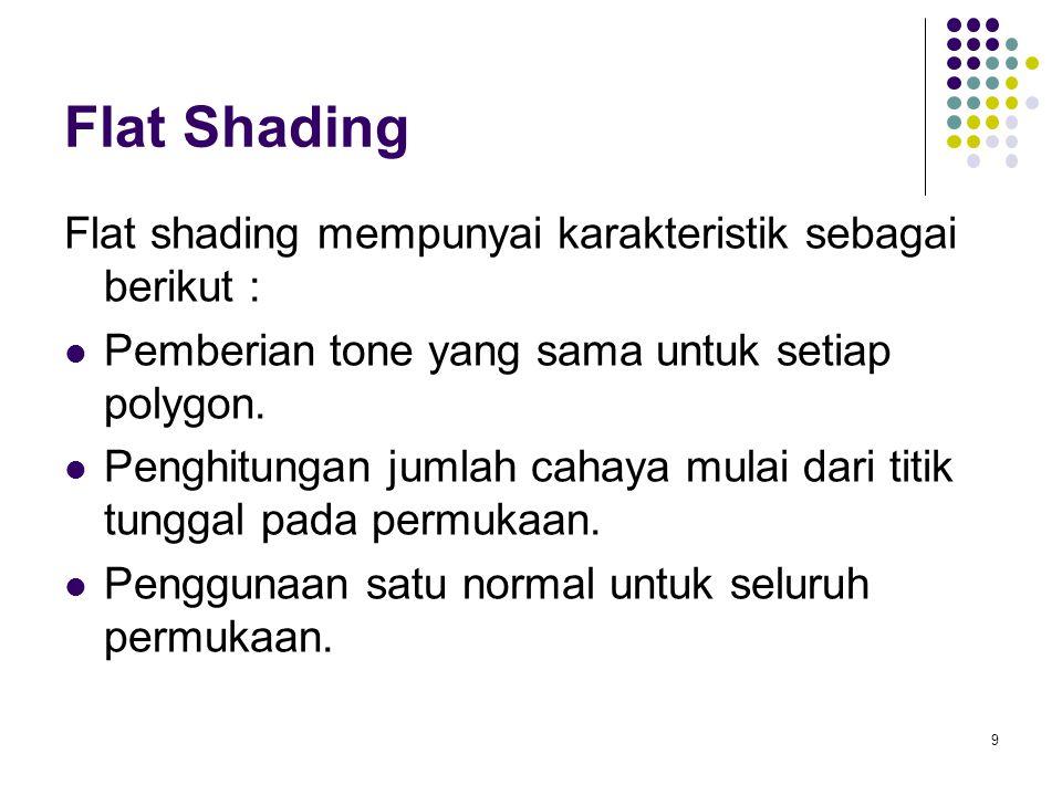 Flat Shading Flat shading mempunyai karakteristik sebagai berikut : Pemberian tone yang sama untuk setiap polygon. Penghitungan jumlah cahaya mulai da