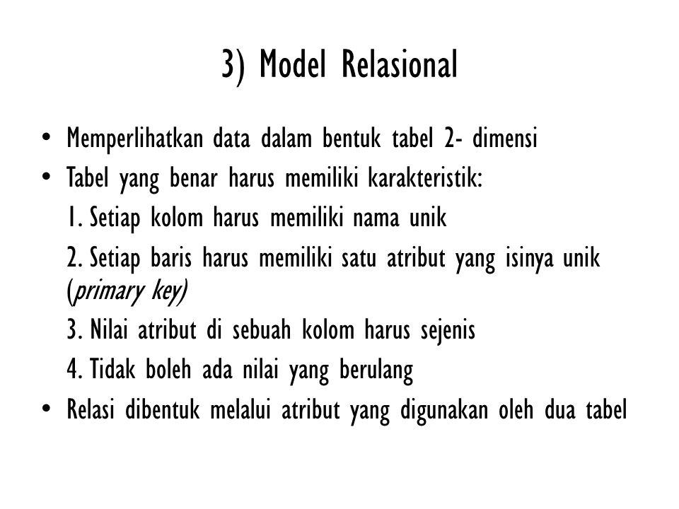 3) Model Relasional Memperlihatkan data dalam bentuk tabel 2- dimensi Tabel yang benar harus memiliki karakteristik: 1. Setiap kolom harus memiliki na