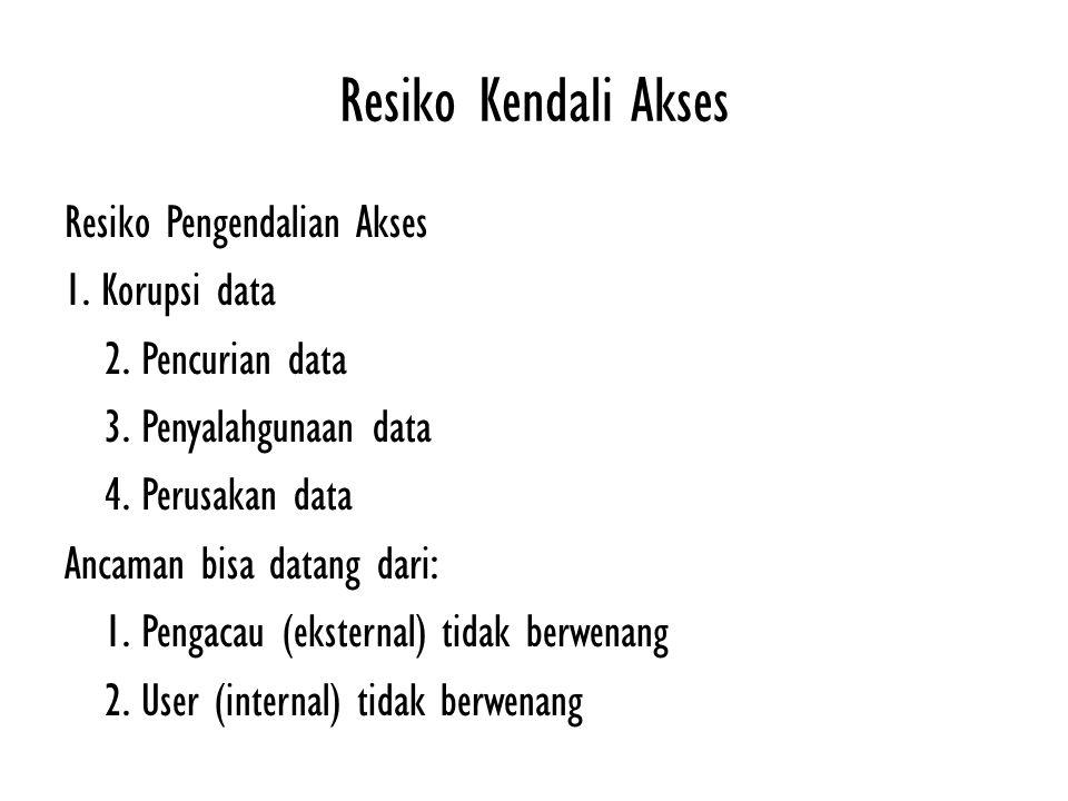 Resiko Kendali Akses Resiko Pengendalian Akses 1. Korupsi data 2. Pencurian data 3. Penyalahgunaan data 4. Perusakan data Ancaman bisa datang dari: 1.