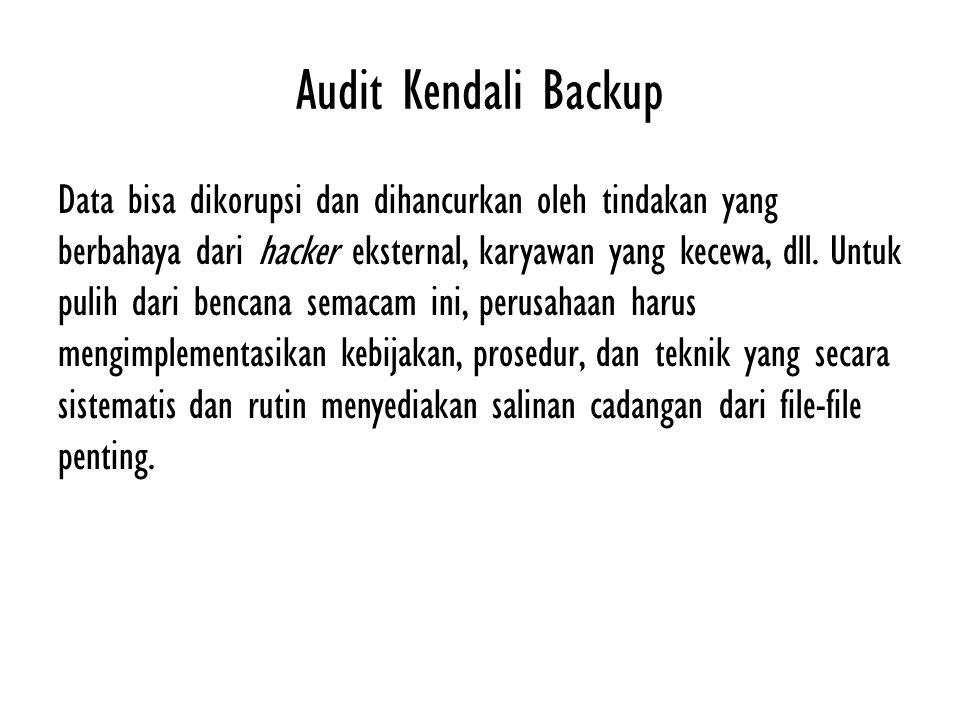 Audit Kendali Backup Data bisa dikorupsi dan dihancurkan oleh tindakan yang berbahaya dari hacker eksternal, karyawan yang kecewa, dll. Untuk pulih da