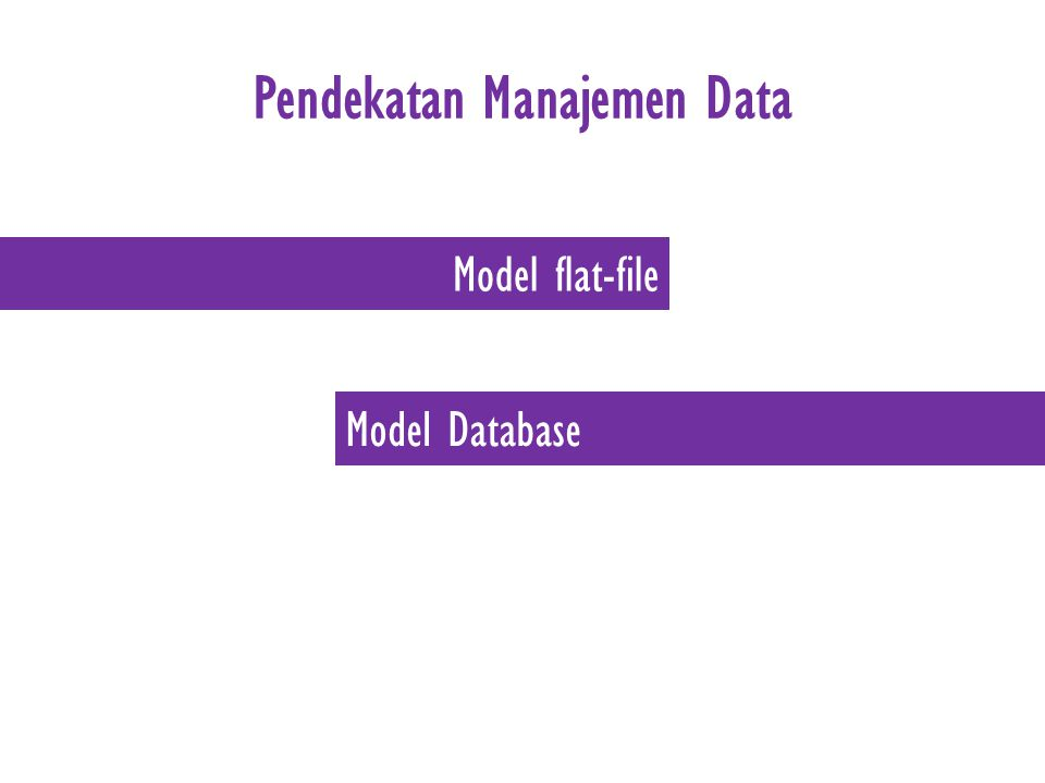Pendekatan Manajemen Data Model flat-file Model Database
