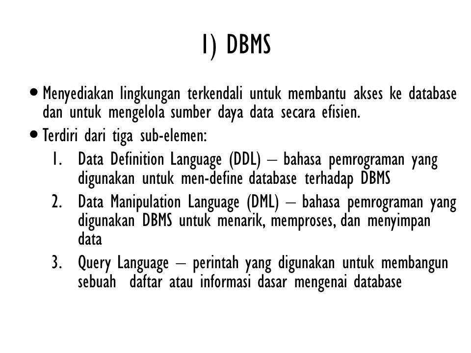 1) DBMS Menyediakan lingkungan terkendali untuk membantu akses ke database dan untuk mengelola sumber daya data secara efisien. Terdiri dari tiga sub-