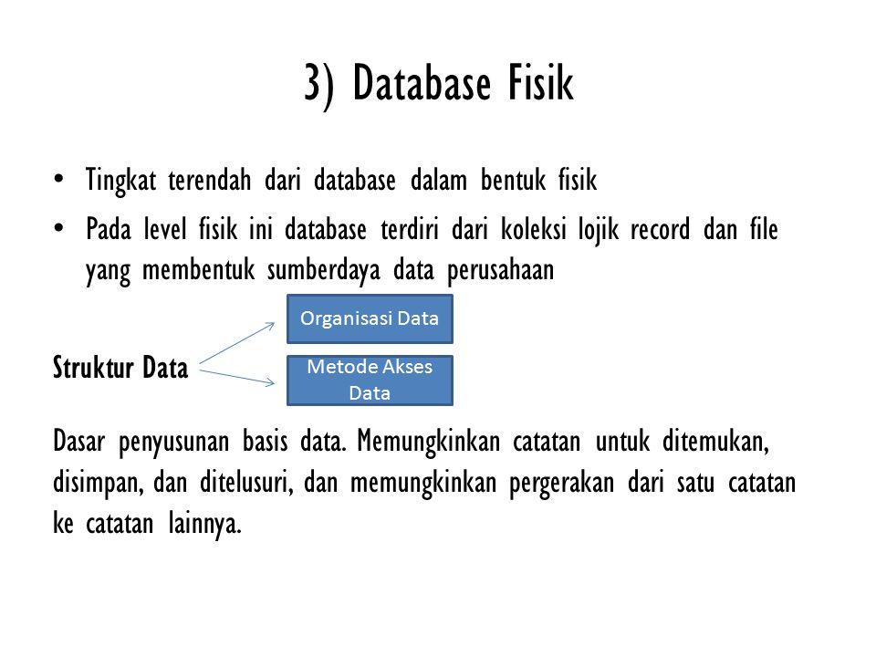 3) Database Fisik Tingkat terendah dari database dalam bentuk fisik Pada level fisik ini database terdiri dari koleksi lojik record dan file yang memb