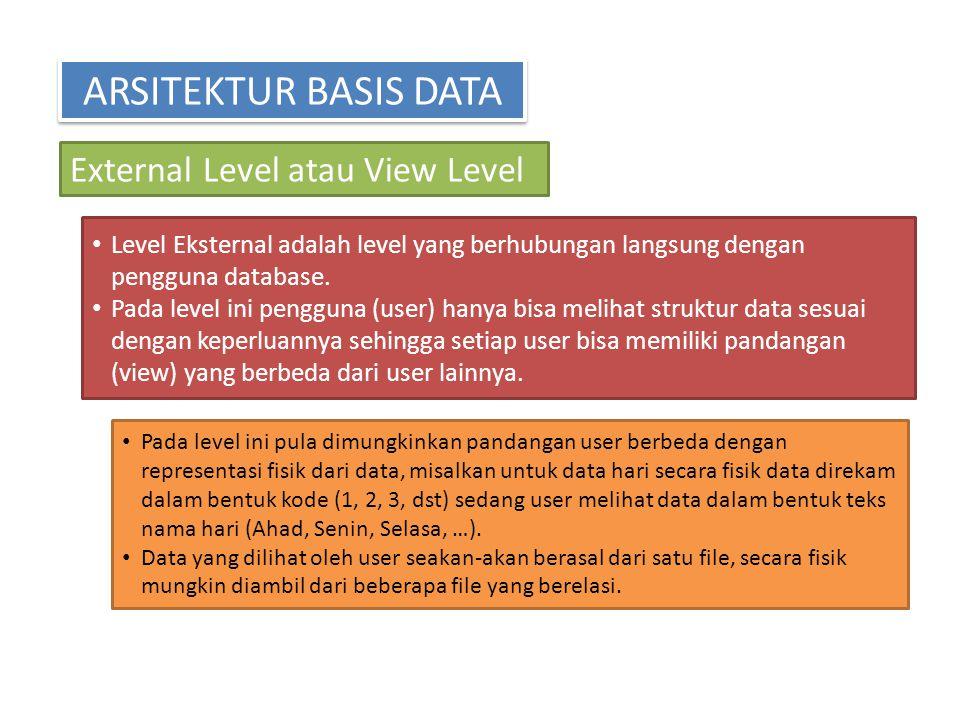 ARSITEKTUR BASIS DATA External Level atau View Level Level Eksternal adalah level yang berhubungan langsung dengan pengguna database. Pada level ini p