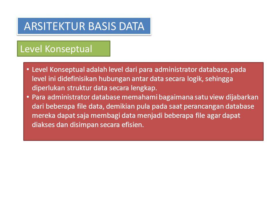 ARSITEKTUR BASIS DATA Level Konseptual Level Konseptual adalah level dari para administrator database, pada level ini didefinisikan hubungan antar dat