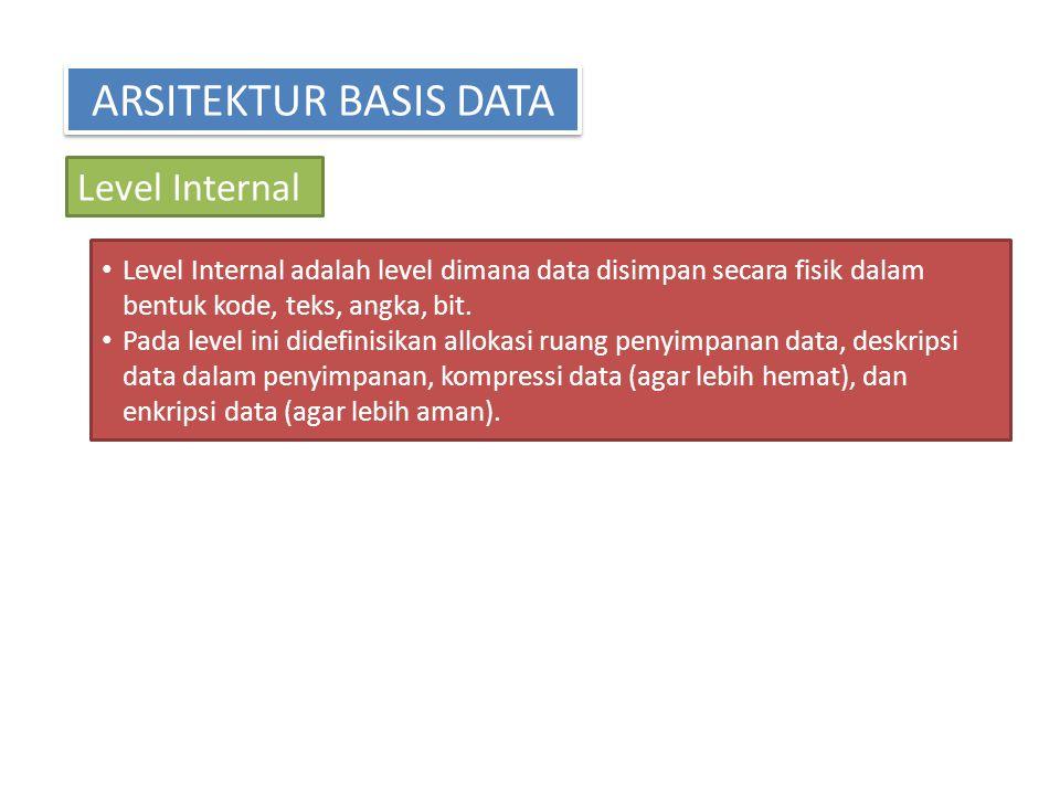 ARSITEKTUR BASIS DATA Level Internal Level Internal adalah level dimana data disimpan secara fisik dalam bentuk kode, teks, angka, bit. Pada level ini