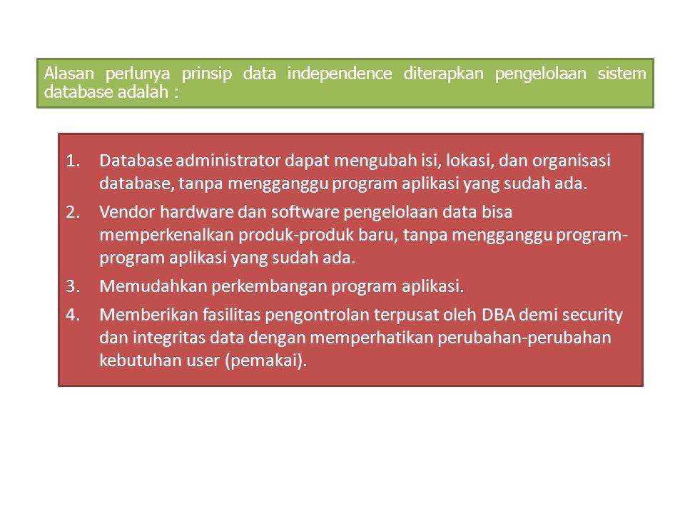 Alasan perlunya prinsip data independence diterapkan pengelolaan sistem database adalah : 1.Database administrator dapat mengubah isi, lokasi, dan org