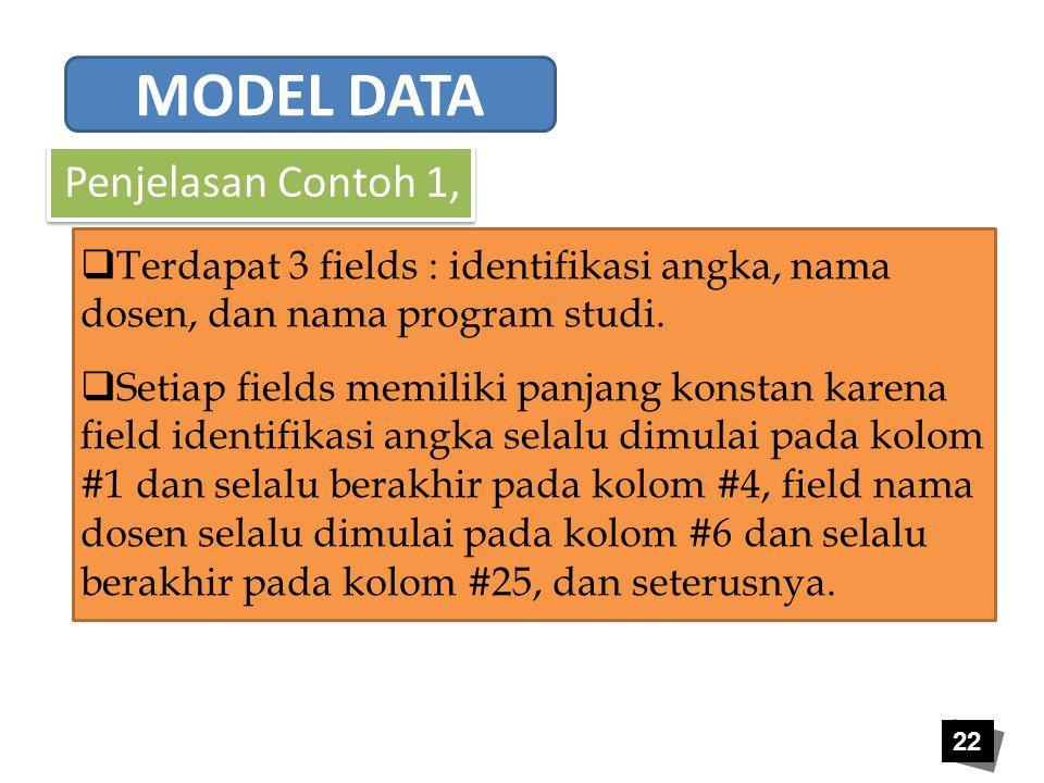 22 Penjelasan Contoh 1,  Terdapat 3 fields : identifikasi angka, nama dosen, dan nama program studi.  Setiap fields memiliki panjang konstan karena