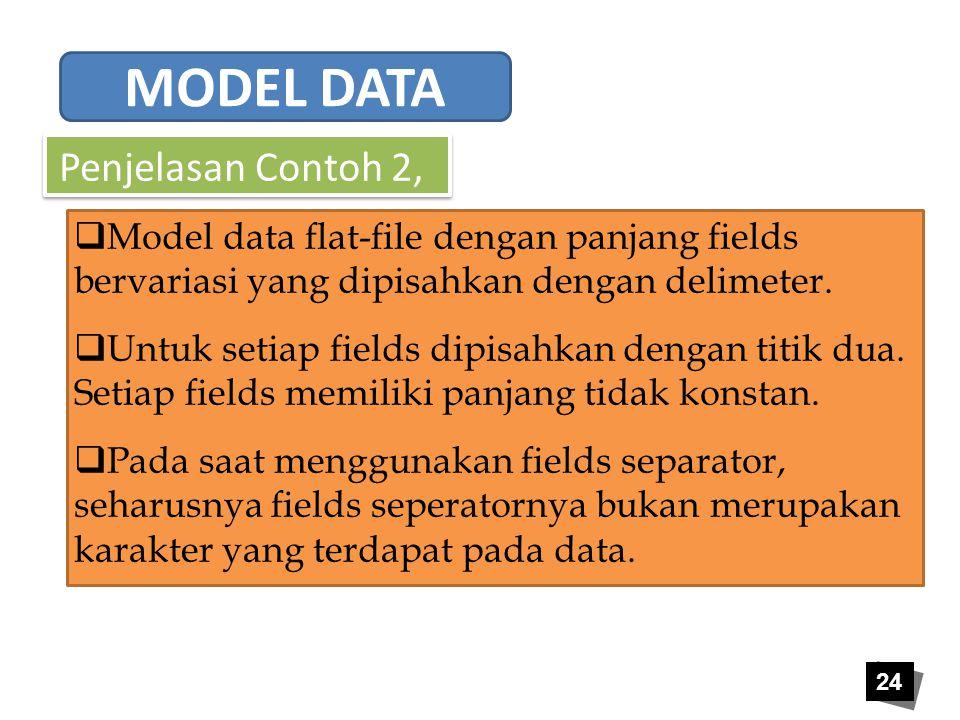 24 Penjelasan Contoh 2,  Model data flat-file dengan panjang fields bervariasi yang dipisahkan dengan delimeter.  Untuk setiap fields dipisahkan den