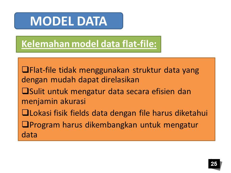 25 Kelemahan model data flat-file:  Flat-file tidak menggunakan struktur data yang dengan mudah dapat direlasikan  Sulit untuk mengatur data secara