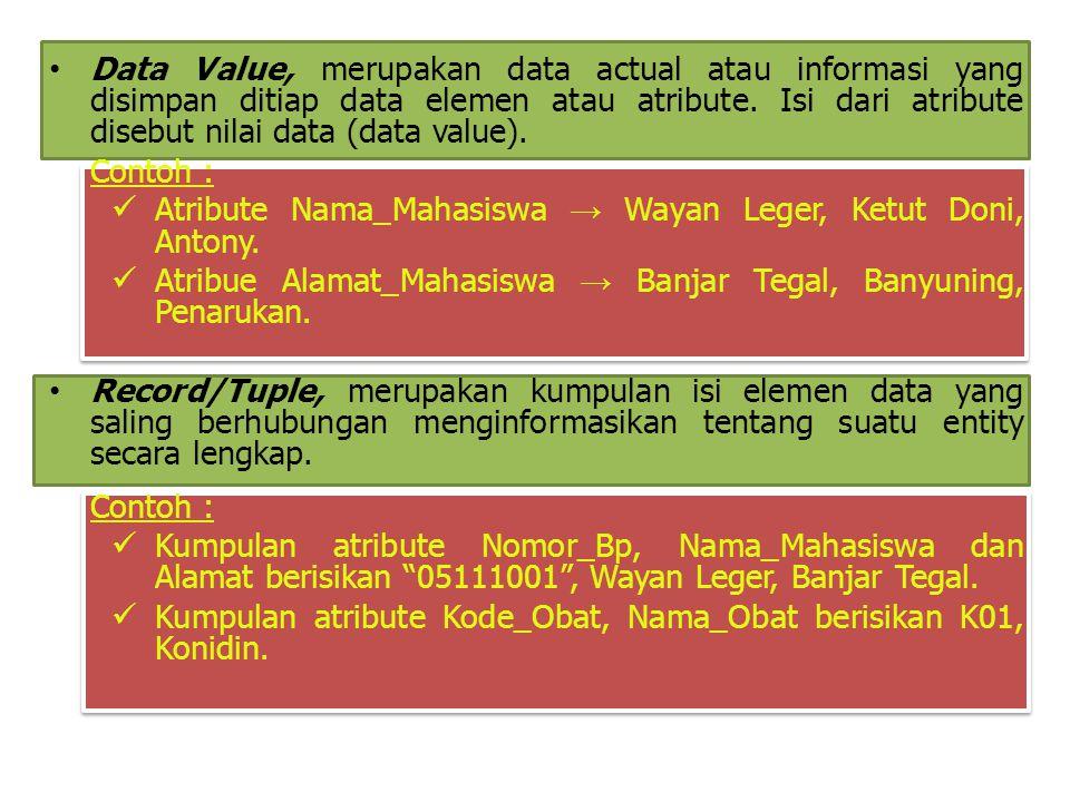 Data Value, merupakan data actual atau informasi yang disimpan ditiap data elemen atau atribute. Isi dari atribute disebut nilai data (data value). Co