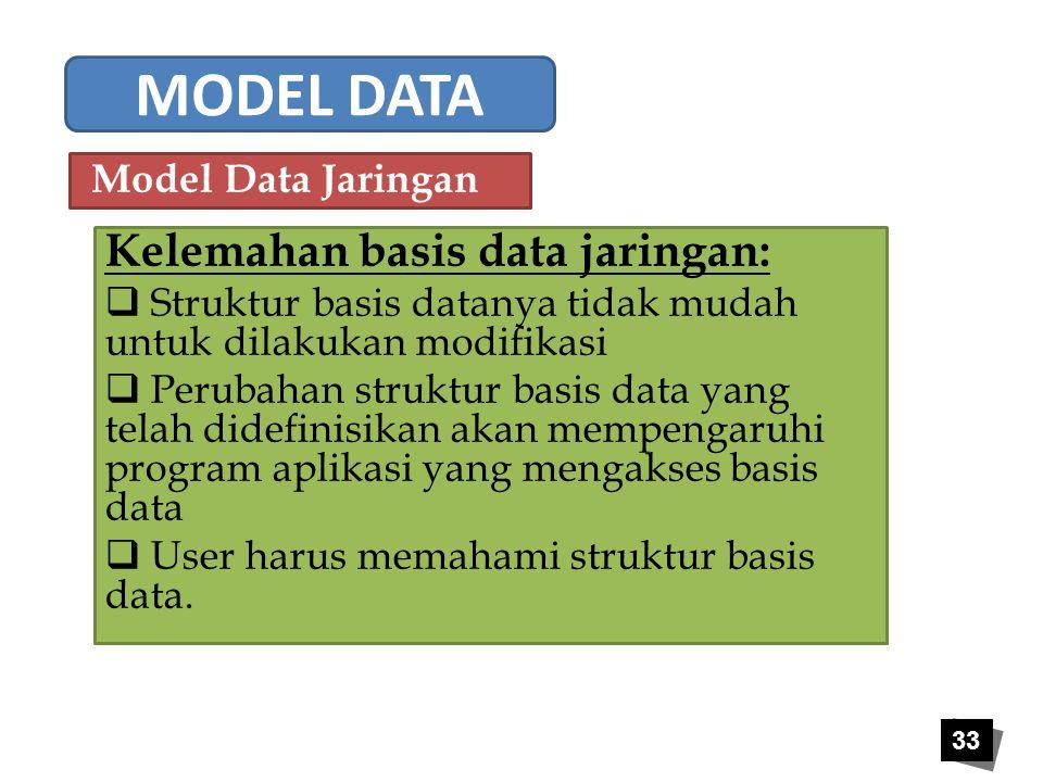 33 Kelemahan basis data jaringan:  Struktur basis datanya tidak mudah untuk dilakukan modifikasi  Perubahan struktur basis data yang telah didefinis