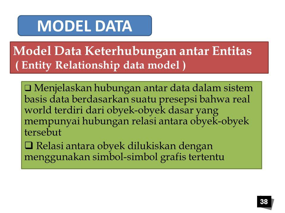 38  Menjelaskan hubungan antar data dalam sistem basis data berdasarkan suatu presepsi bahwa real world terdiri dari obyek-obyek dasar yang mempunyai