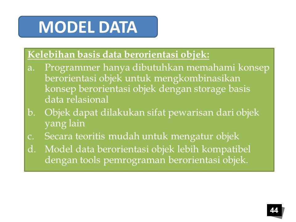44 Kelebihan basis data berorientasi objek: a.Programmer hanya dibutuhkan memahami konsep berorientasi objek untuk mengkombinasikan konsep berorientas