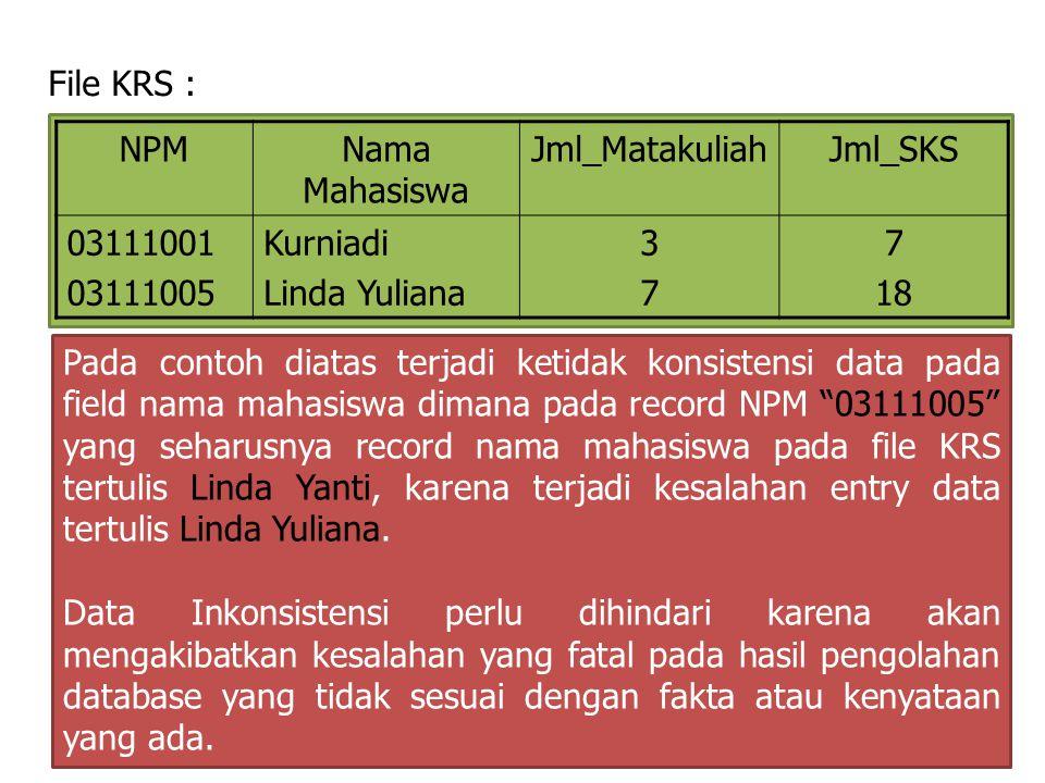 File KRS : NPMNama Mahasiswa Jml_MatakuliahJml_SKS 03111001 03111005 Kurniadi Linda Yuliana 3737 7 18 Pada contoh diatas terjadi ketidak konsistensi d