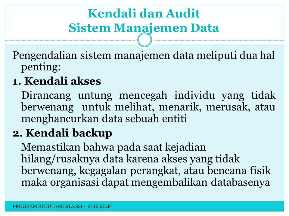 Kendali dan Audit Sistem Manajemen Data Pengendalian sistem manajemen data meliputi dua hal penting: 1.