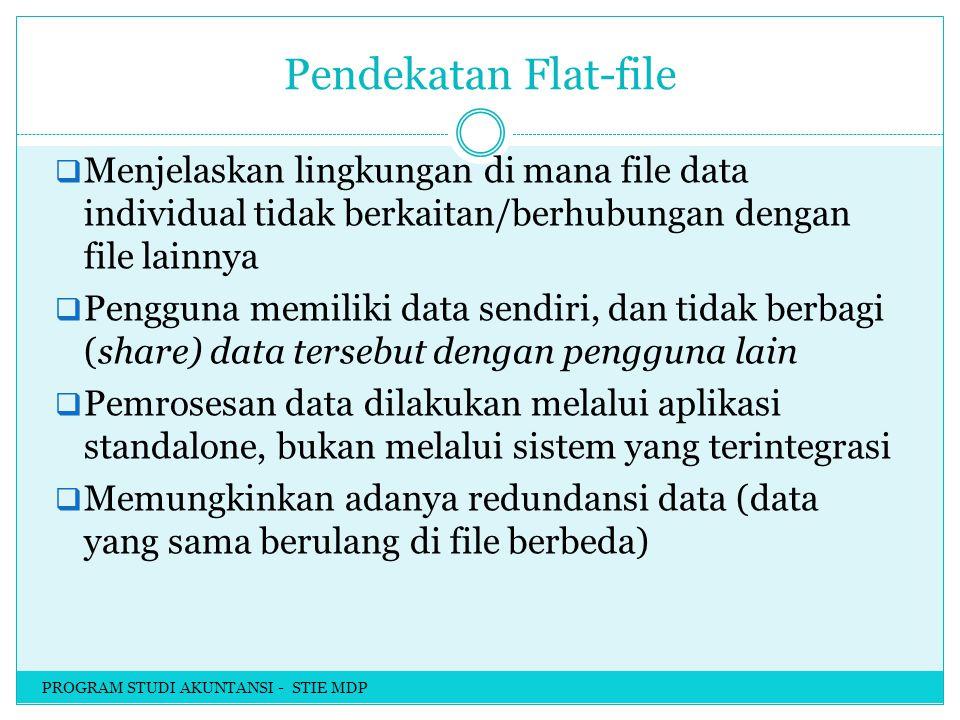 Pendekatan Flat-file  Menjelaskan lingkungan di mana file data individual tidak berkaitan/berhubungan dengan file lainnya  Pengguna memiliki data sendiri, dan tidak berbagi (share) data tersebut dengan pengguna lain  Pemrosesan data dilakukan melalui aplikasi standalone, bukan melalui sistem yang terintegrasi  Memungkinkan adanya redundansi data (data yang sama berulang di file berbeda) PROGRAM STUDI AKUNTANSI - STIE MDP