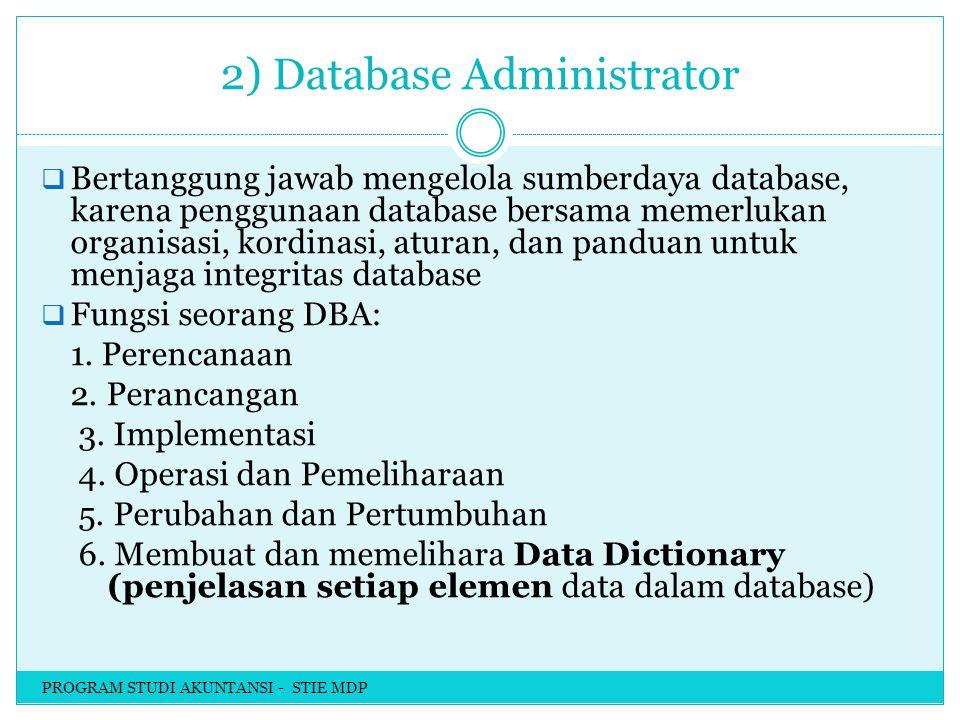 2) Database Administrator  Bertanggung jawab mengelola sumberdaya database, karena penggunaan database bersama memerlukan organisasi, kordinasi, aturan, dan panduan untuk menjaga integritas database  Fungsi seorang DBA: 1.
