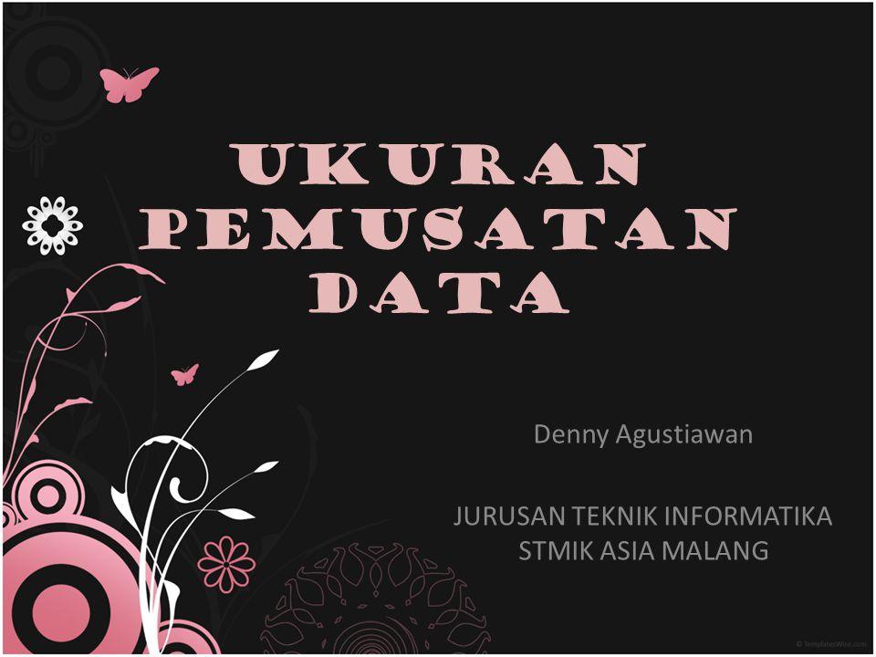 Ukuran Pemusatan Data Ukuran pemusatan adalah suatu ukuran yang menunjukkan dimana suatu data memusat atau suatu kumpulan pengamatan memusat (mengelompok) Ukuran pemusatan merupakan penyederhanaan data untuk mempermudah peneliti membuat interprestasi dan mengambil suatu keputusan