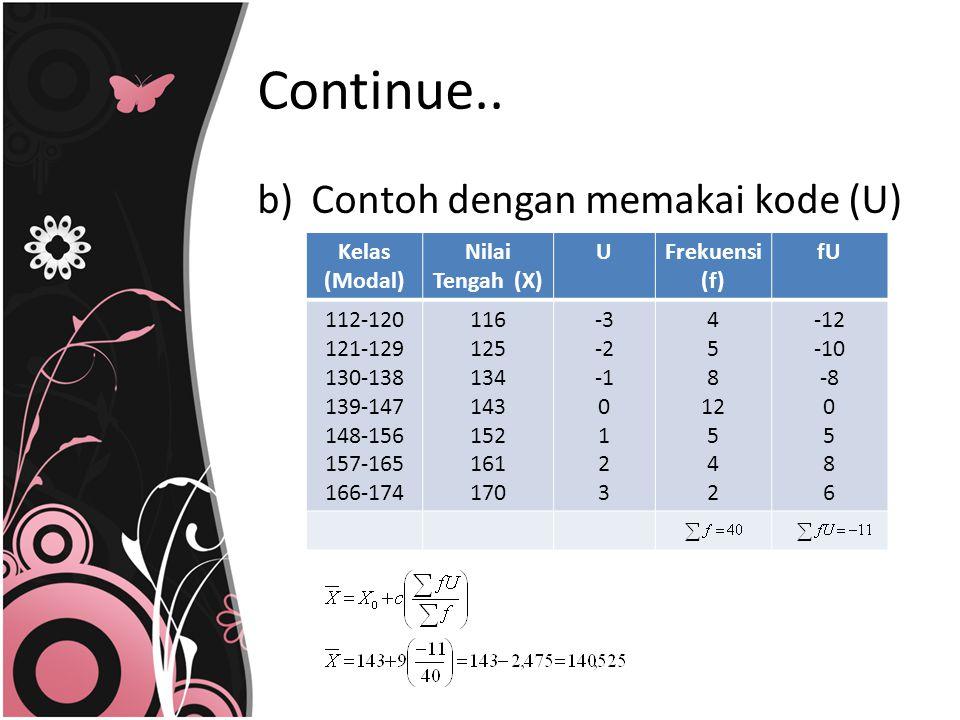b)Contoh dengan memakai kode (U) Kelas (Modal) Nilai Tengah (X) UFrekuensi (f) fU 112-120 121-129 130-138 139-147 148-156 157-165 166-174 116 125 134