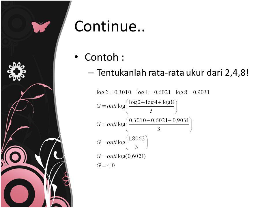 Contoh : – Tentukanlah rata-rata ukur dari 2,4,8! Continue..