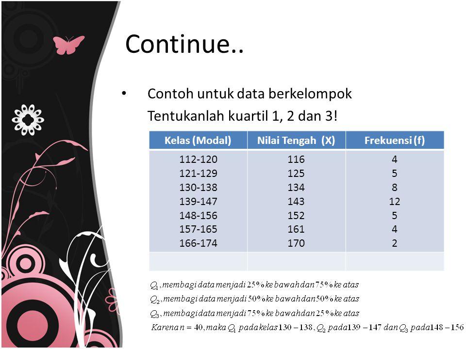 Contoh untuk data berkelompok Tentukanlah kuartil 1, 2 dan 3! Kelas (Modal)Nilai Tengah (X)Frekuensi (f) 112-120 121-129 130-138 139-147 148-156 157-1