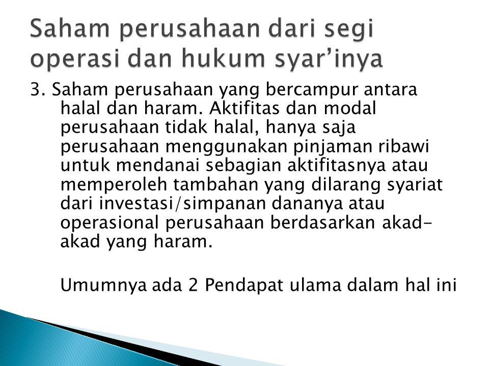 3.Saham perusahaan yang bercampur antara halal dan haram.