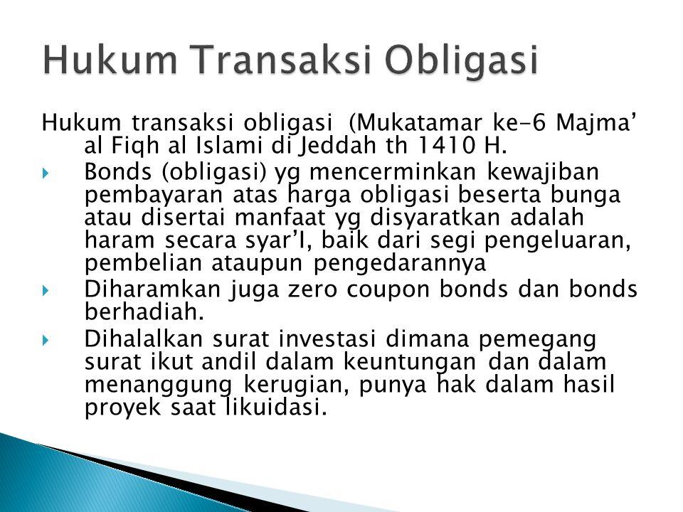 Hukum transaksi obligasi (Mukatamar ke-6 Majma' al Fiqh al Islami di Jeddah th 1410 H.