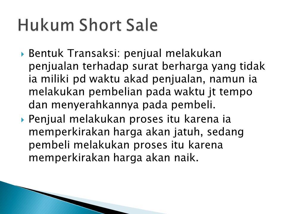  Bentuk Transaksi: penjual melakukan penjualan terhadap surat berharga yang tidak ia miliki pd waktu akad penjualan, namun ia melakukan pembelian pada waktu jt tempo dan menyerahkannya pada pembeli.