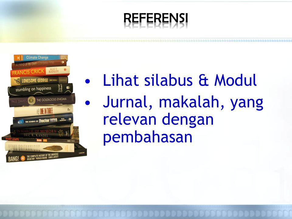 Lihat silabus & Modul Jurnal, makalah, yang relevan dengan pembahasan