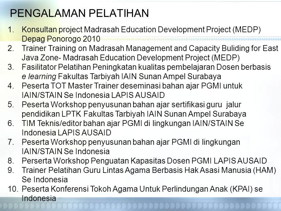 PENGALAMAN PELATIHAN 1.Konsultan project Madrasah Education Development Project (MEDP) Depag Ponorogo 2010 2.Trainer Training on Madrasah Management a