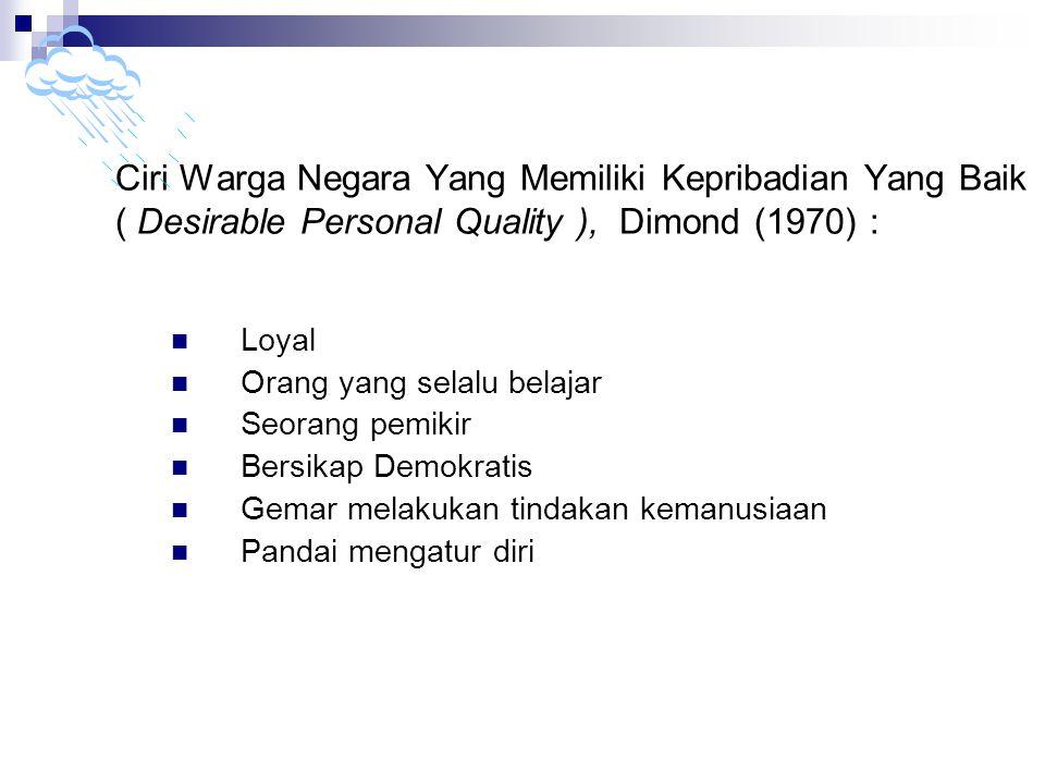 Ciri Warga Negara Yang Memiliki Kepribadian Yang Baik ( Desirable Personal Quality ), Dimond (1970) : Loyal Orang yang selalu belajar Seorang pemikir