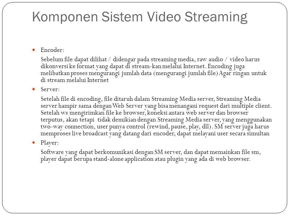 Komponen Sistem Video Streaming Encoder: Sebelum file dapat dilihat / didengar pada streaming media, raw audio / video harus dikonversi ke format yang dapat di stream-kan melalui Internet.